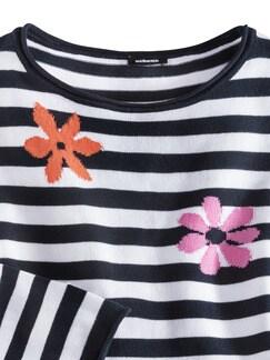 Pullover Ringelblüte Marine/Weiß Detail 4
