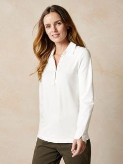 Poloshirt Feincord Offwhite Detail 1