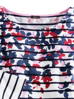 Streifenshirt Blumendruck Weiß/Marine/Pink Detail 4