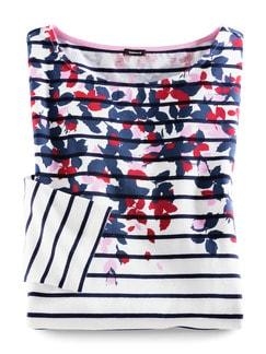 Streifenshirt Blumendruck Weiß/Marine/Pink Detail 3