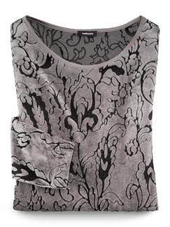 Samtshirt Blütenranke Silbergrau Detail 2
