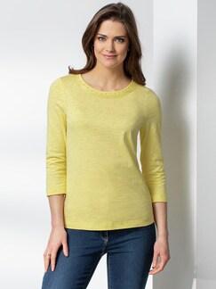 Baumwollshirt Perlenausschnitt Gelb Detail 1