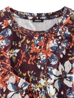 Viskoseshirt Herbstblume Bordeaux gemustert Detail 3