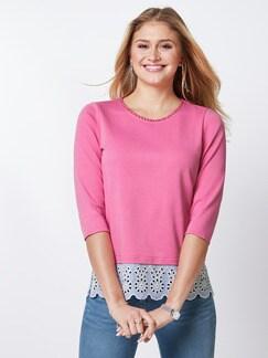 Sweatshirt Lochstickerei Pink Detail 1