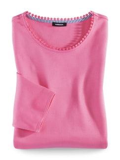 Sweatshirt Lochstickerei Pink Detail 2
