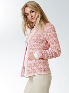 Strickjacke Tweed Effekt Pink/Weiß Detail 1
