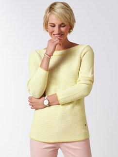 Pima Cotton Pullover Links/Links Gelb/Weiß Detail 1