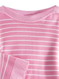 Merino Pullover extrafine Ringel Pink/Weiß Detail 3