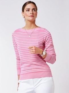 Merino Pullover extrafine Ringel Pink/Weiß Detail 1