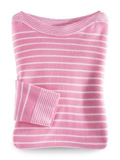 Merino Pullover extrafine Ringel Pink/Weiß Detail 2