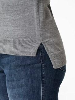 Merino-Mix Rundhals Pullover Grau Melange Detail 4