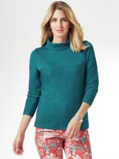 Kaminkragen Pullover Querrippe Smaragdgrün Detail 1