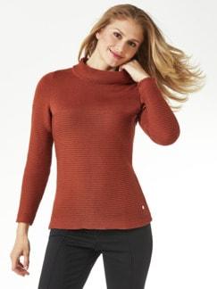 Kaminkragen Pullover Querrippe Zimt Detail 1