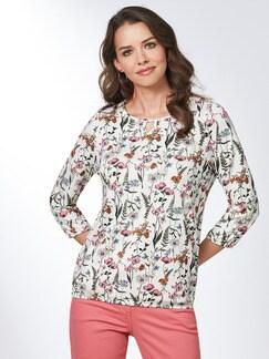 Blouson-Shirt Blumenwiese Weiß/Orange/Pink Detail 1