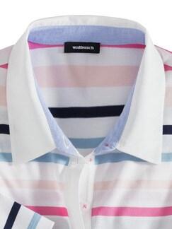 Pima Cotton Polo Streifen Rosa/Blau Detail 3