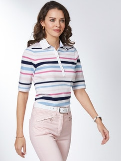 Pima Cotton Polo Streifen Rosa/Blau Detail 1