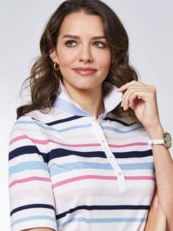 Pima Cotton Polo Streifen Rosa/Blau Detail 4