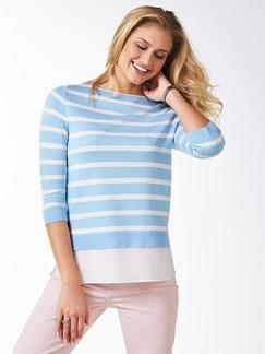 Streifen Sweatshirt 2 in 1 Skyblue/Weiß Detail 1
