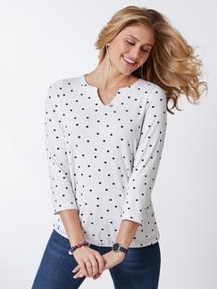 Viskose-Shirt Polka Dot Weiß Detail 1