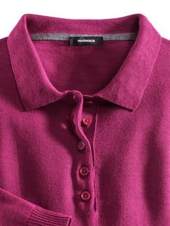 Merino-Mix Polo-Pullover Himbeere Detail 3