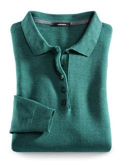 Merino-Mix Polo-Pullover Jadegrün Detail 3