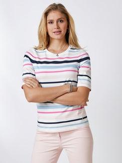 Pima Cotton Shirt Streifen Rosa/Blau Detail 1