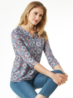 Ausbrenner-Shirt Kachelmuster Rauchblau Detail 1