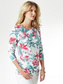 Struktur-Sweatshirt Blumendruck Detail 1