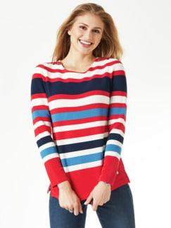 Struktur-Sweatshirt Streifen Karminrot Detail 1