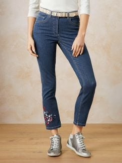 7/8 Jeans Blütenstickerei Blue Stoned Detail 1