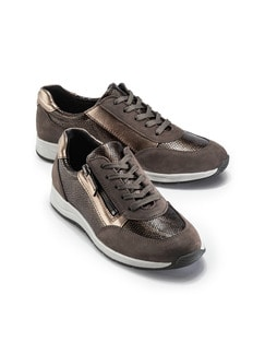 Reißverschluss-Sneaker Glitzermix Braun Detail 1