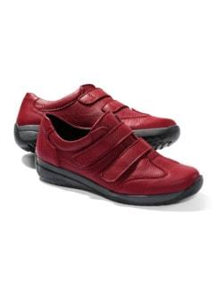 Hirschleder-Doppelklett-Schuh Rot Detail 1