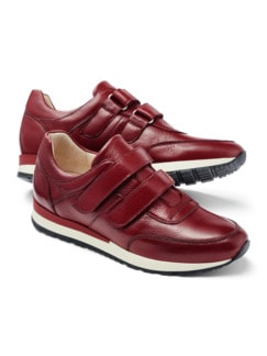 Hirschleder Doppelklett-Sneaker Rot Detail 1