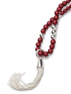 Langkette Silberquast Rot Detail 3