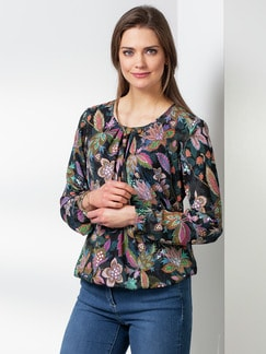 Blousonbluse Flower Power Multicolor Detail 1