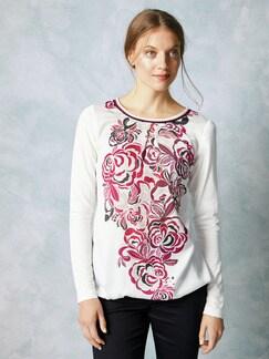 Shirtbluse Winterblüte Weiss Detail 1