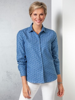 Flanellbluse Supersoft Floral Blau Detail 1