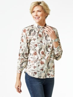 Ultrastretch-Stehkragen-Shirtbluse Paisley Multicolor Detail 1