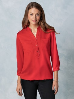 Blousonbluse Polo-Optik Rot Detail 1
