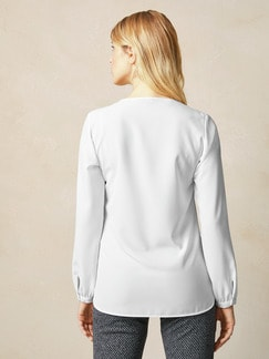 Bluse mit Schleifchen Weiß . Detail 4