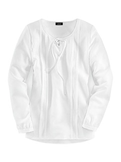 Bluse mit Schleifchen Weiß . Detail 3