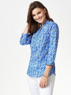 Shirtbluse-Sommerleicht Tupfen Blau Detail 1