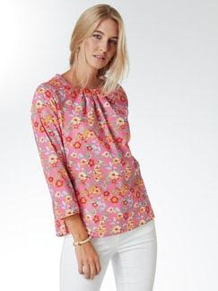 Shirtbluse Sommerleicht Blumen Pink Detail 1