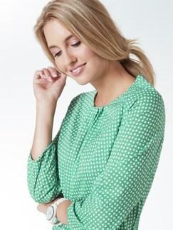 Shirtbluse Sommerleicht Tupfen Grün Detail 4