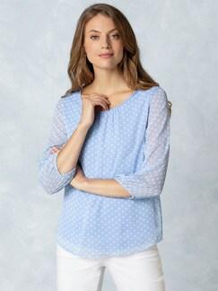 2in1 Tupfen-Shirtbluse Blau mit Tupfen Detail 1