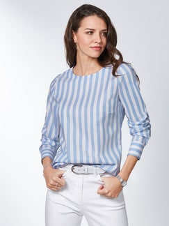 Extraglatt Pima-Cotton Shirtbluse Skyblue Detail 1