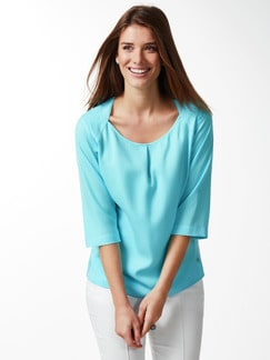 Tencel Shirtbluse Sommerfrische Aqua Detail 1