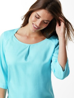Tencel Shirtbluse Sommerfrische Aqua Detail 4