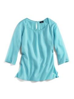 Tencel Shirtbluse Sommerfrische Aqua Detail 2