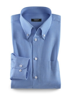 Extraglatt-Hemd Soft Twill Hahnentritt Blau Detail 1